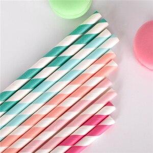 Image 5 - Pailles en papier pour boire, 100 pièces, vente en gros, à rayures, décoration de réception prénatale, cadeau et événements