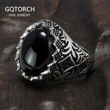 Гарантированные Оригинальные Серебряные черные кольца в стиле ретро, винтажные цветы, турецкое кольцо, ювелирные изделия для мужчин с камнем, турецкие украшения