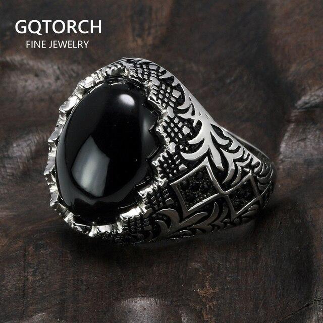 מובטח 925 סטרלינג כסף שחור טבעות רטרו בציר פרחים תורכי טבעת תכשיטי עבור גברים עם אבן טורקיה תכשיטים