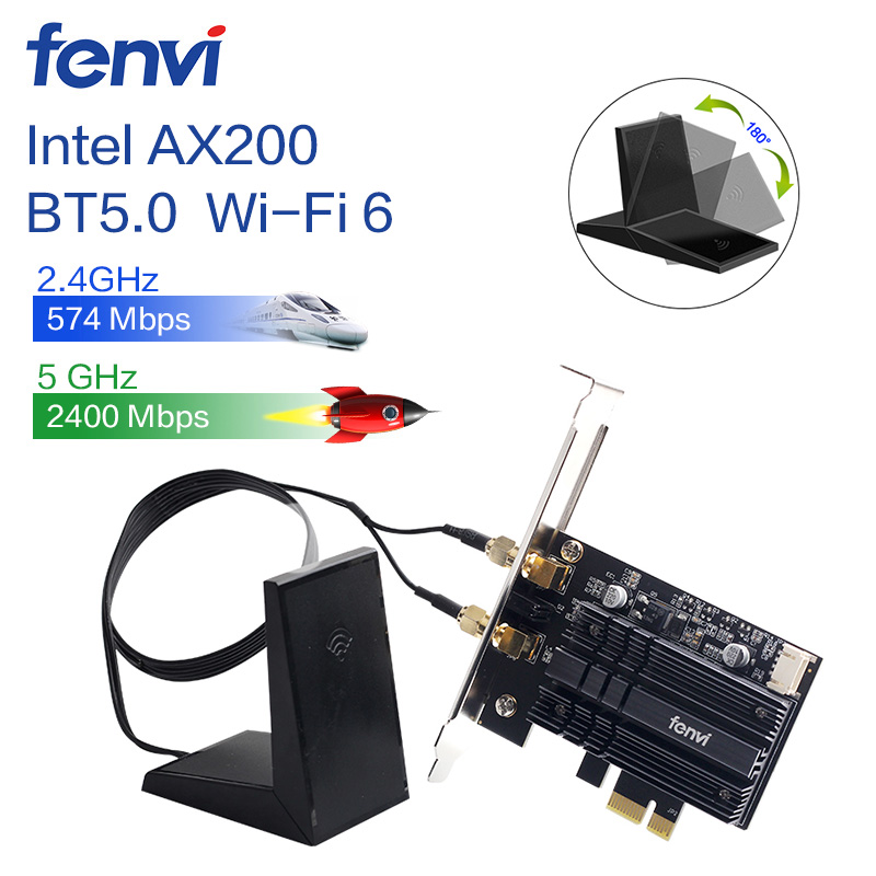 Desktop 2400Mbps PCI-E Dual Band WLAN Wi-Fi Wireless Adapter Card For Wi-Fi6 Intel AX200NGW 802.11AC/AX With Magnetic Antennas.