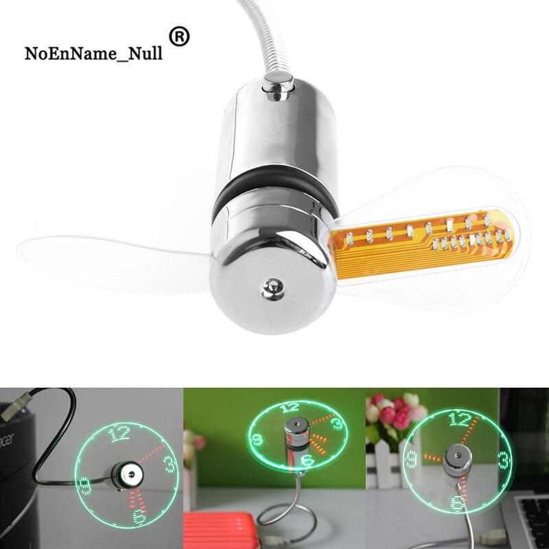 USB Led Gadget Flexible 40CM USB Powered Cooling LED Flashing Time Display Function Clock Fan
