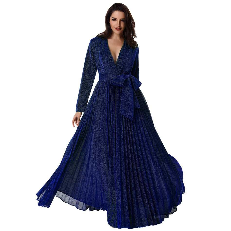 Seamyla 新ファッション滑走路の女性マキシドレス長袖グリーンゴールドブルー夏ドレス床の長さのメッシュイブニングパーティードレス  グループ上の レディース衣服 からの ドレス の中 1