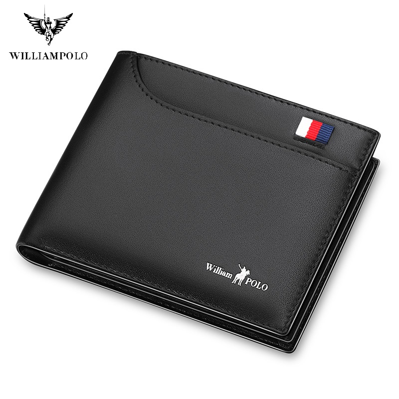 WilliamPolo Men Genuine Leather short Wallet Mens slim Card Holder high quality Multi Card Case money coin Slots Cowhide purses