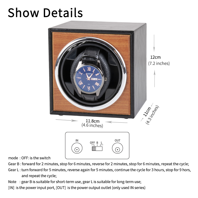 Watch Winder for automatic watches single Wooden Watch Accessories Box Watches Storage Luxury-2