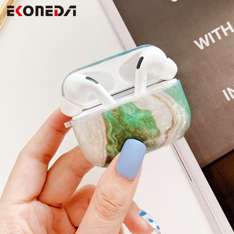 EKONEDA Retro Luxury Marble Case For Airpods Pro Case Silicone Protective Earphone Charging Box Cover For Airpods Pro