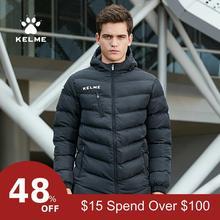 KELME Мужская Детская футбольная тренировочная куртка с капюшоном, зимнее теплое пальто, тренировочная спортивная куртка для бега K15P010