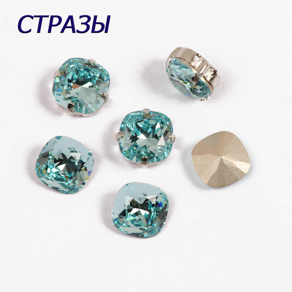 CTPA3bI 4470 Aquamar Color Cushion Cut Shape Glass Crystal Fancy Beads Rhinestone Point Back Stone For Jewelry Making Decorating