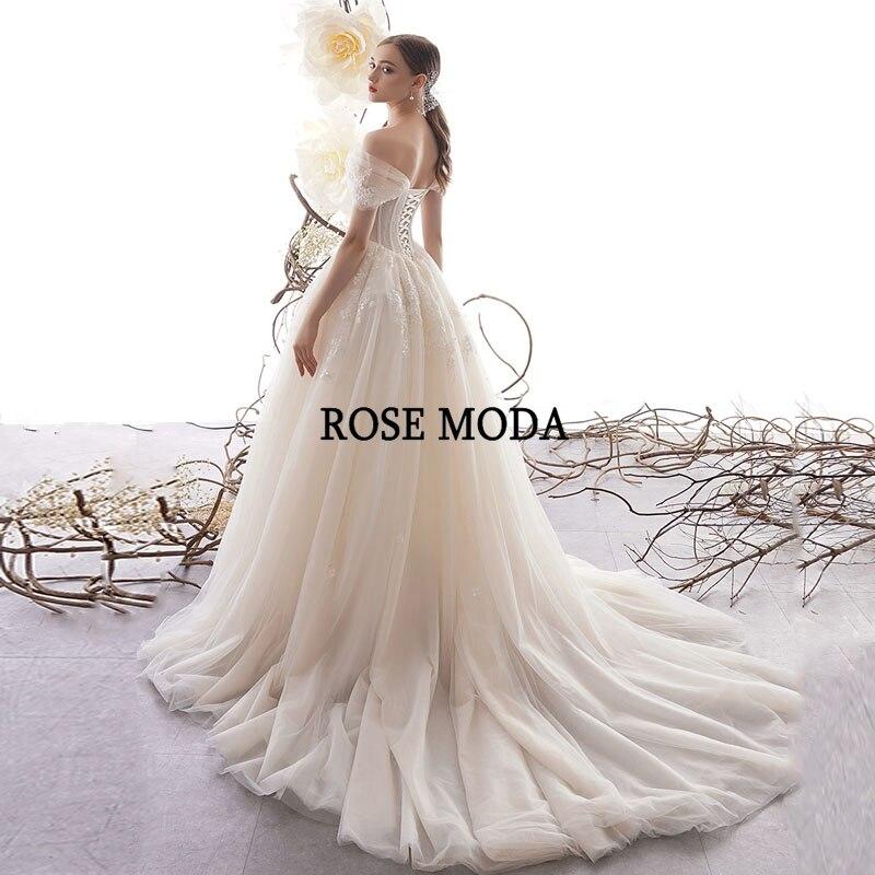 Image 3 - Rose Moda Off Shoulder Lace Wedding Dress 2020 Lace Up Back Custom MakeWedding Dresses   -