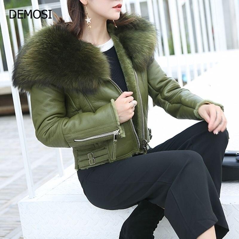 Women  Sheepskin Genuine Leather Lady Real Raccoon Fur Collar Coat New Fashion Female Outwear Short Casual Zipper Plus Size Coat