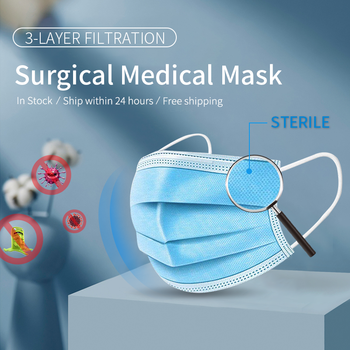 Wholesale 200PCS Medical Surgical Mask Disposable Nonwove 3 Layer Ply Filter Mask Anti-Dust Elastic Earloop Mouth Face Masks