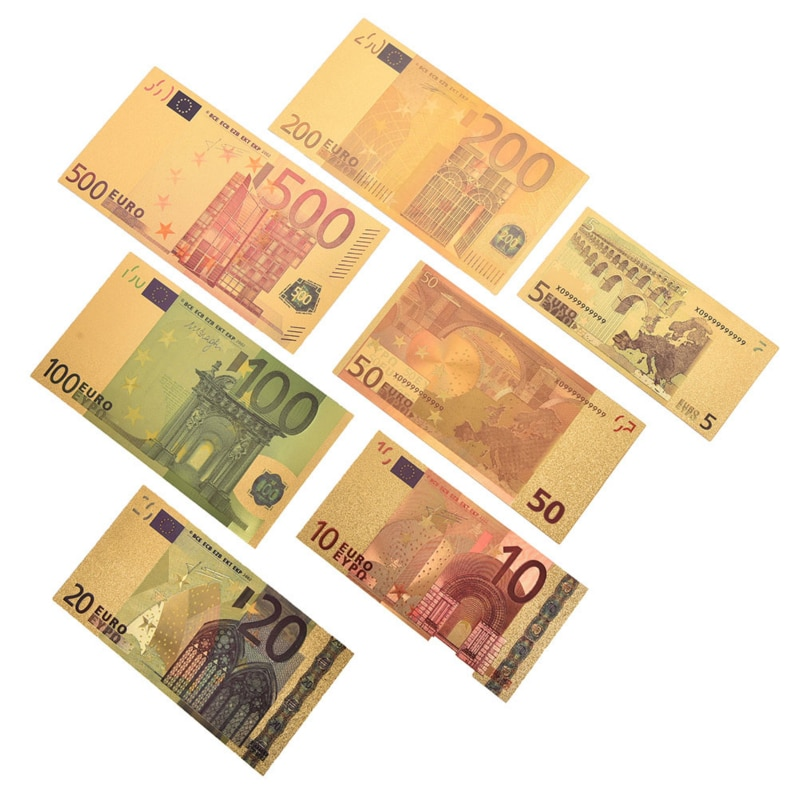 7Pcs Novelty 5 10 20 50 100 200 500 EUR Gold Banknotes In 24K Gold Fake Paper Money For Collection Euro Banknote Sets Toys