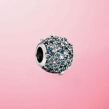 цена 925 Sterling Silver Teal Pave Daisy Flower Charm Beads Fit Original Pandora Bracelet Bangle For Women  Jewelry Gift онлайн в 2017 году