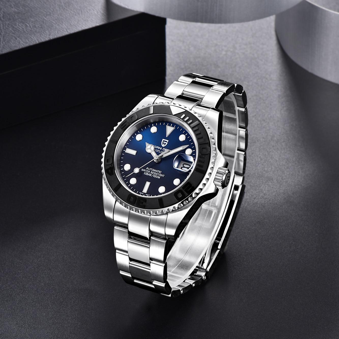 Relógio de Luxo 100m à Prova Pagani Design Safira Vidro Dwaterproof Água 40mm Clássico Automático Japão Nh35a Movimento Relógios Mecânicos
