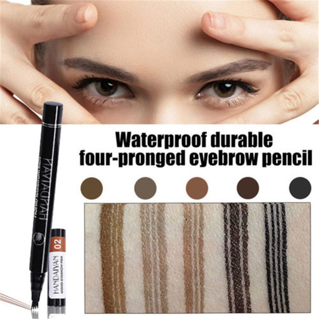 5 Colors Microblading Eyebrow Pencil Waterproof Fork Tip Tattoo Pen Tinted Fine Sketch Long Lasting Eye Brow Pencils 2