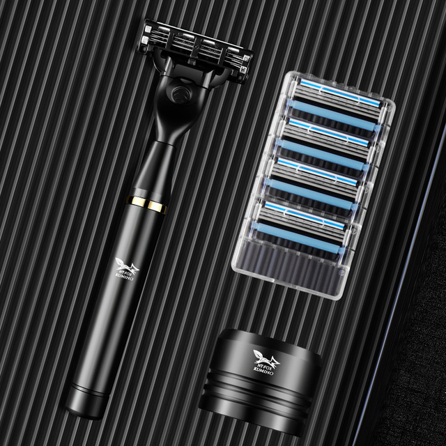 Black Manual Shave Razor Three Layer Blades Razor for Men Shaving Razor Blades Safety Razors Face Care Beard Shavers Gift Box 1