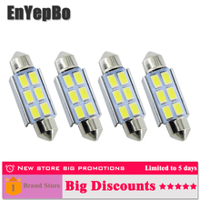 4Pcs For Golf 4 5 Passat 3B 3BG 3C CC Polo 9N T5 Eos led car C5W 36mm Canbus No Error License Number Plate Light LED Bulb 12v купить недорого в Москве