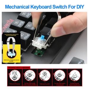 Image 4 - Redragon Mitra K551 USB لوحة مفاتيح الألعاب الميكانيكية التبديل الأزرق لتقوم بها بنفسك 104 مفتاح الخلفية ألعاب الكمبيوتر الروسية أو ملصقا الإسبانية