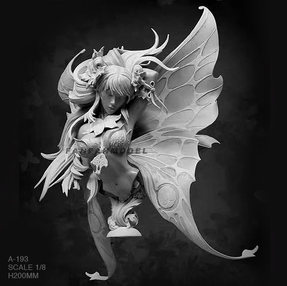 1/8 Resin Bust Figure Kits Butterfly Fairy Model Self-assembled A-193