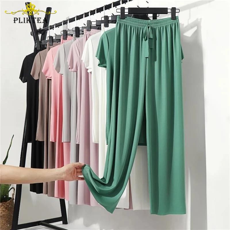 Pliktea Summer Loose Homewear Suit for Women Pajamas Pants Set Female Home Clothes Set Lady Home Suit Summer Women Lounge Wear