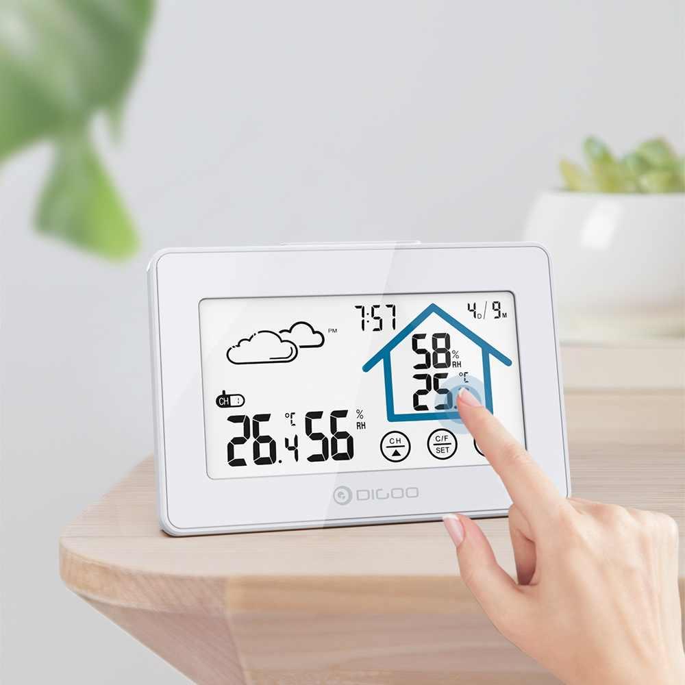 Digoo DG-TH8380 Cuaca Stasiun Setiap Hari Jam Alarm Baterai Rendah Thermometer Hygrometer Suhu Kelembaban Sensor