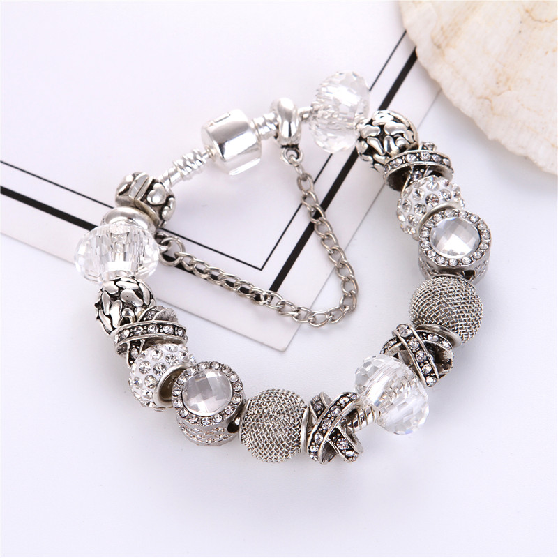 Silver plated Silver plated White crystal Beads Charms Noble DIY Fashion Elegant <font><b>Pan</b></font> <font><b>Bracelet</b></font> For Women/Gril gift jewelry image
