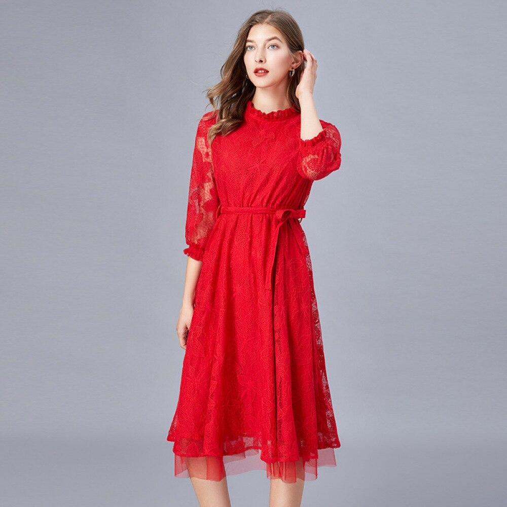 2020 femmes printemps nouveau tempérament rouge dentelle ceinture robe mince col montant trois quarts manches genou longueur robe Midi grande taille