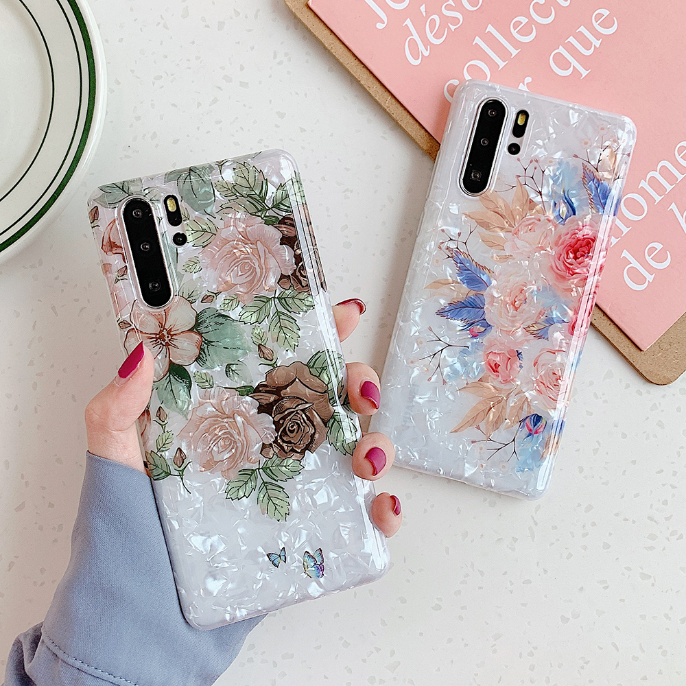 Vintage Flower Phone Case For Samsung Galaxy S10e S10 S9 S8 Plus Note 10 9 8 Soft IMD Dream Shell Phone Back Cover Cases