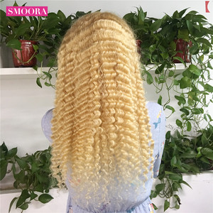 Image 3 - 613 Deep Wave Lace Frontal Wigs Brazilian Remy Human Hair Glueless Deep Part 28 Inch Long Wigs 13*1 Light Blonde 150%