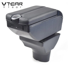 Vtear for Hyundai i20 car armrest leather arm rest usb storage box ABS center console accessories interior parts automobile 2011