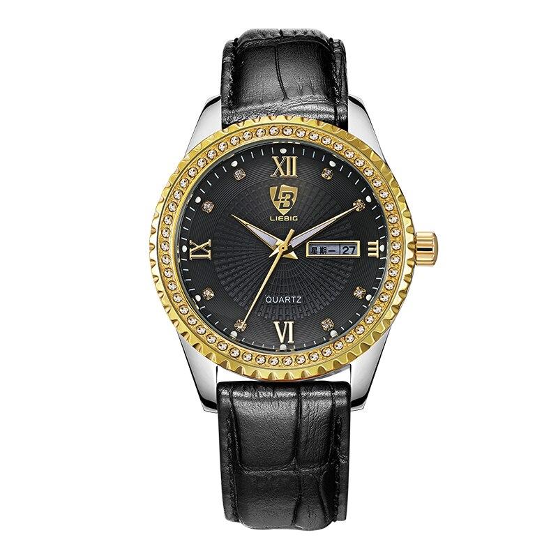 LIEBIG Quartz Watch Men Women Couple Watches Luxury Diamond Leather Strap Watch Waterproof Relogio Feminino Hombre Wristwatch