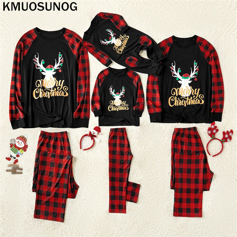 Christmas Parent-child Clothes Set 2019 New Year's Merry Christmas Pyjamas Family Match Adult Women Kid Sleepwear Pajamas C0622
