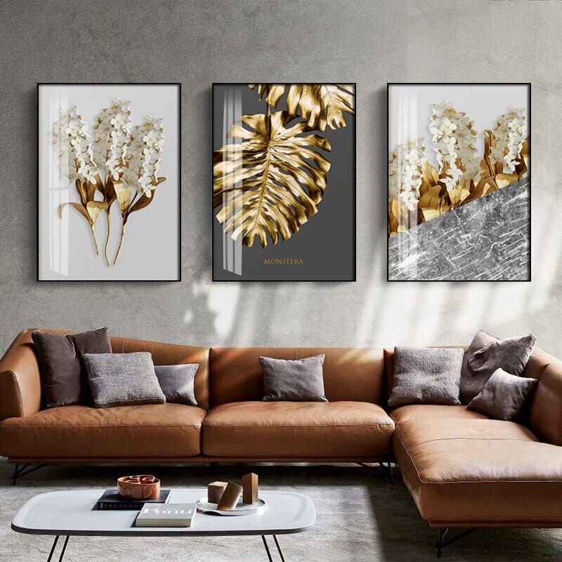 Nórdicos oro resumen hoja flor cuadro sobre lienzo para pared blanco y negro plumas de la pared, foto Decoración Para sala de estar Pintura y caligrafía    - AliExpress