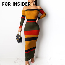 For Insider Off shoulder striped knitted dress Women backless sexy party long Autumn winter sleeve bodycon slim