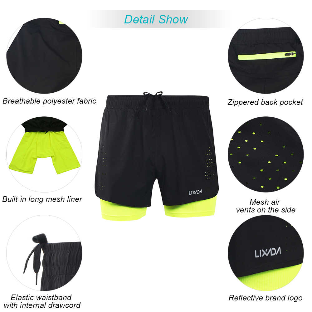 Lixada Heren Fietsbroek Sneldrogend Ademend Actieve Training Oefening Joggen Running Sport Shorts Met Langere Liner