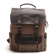 Fashion Retro Men Backpack Multifunction Canvas Leather Backpack Men Travel Bag Large Cacacity Vintage Bagpack School Backpack(China)