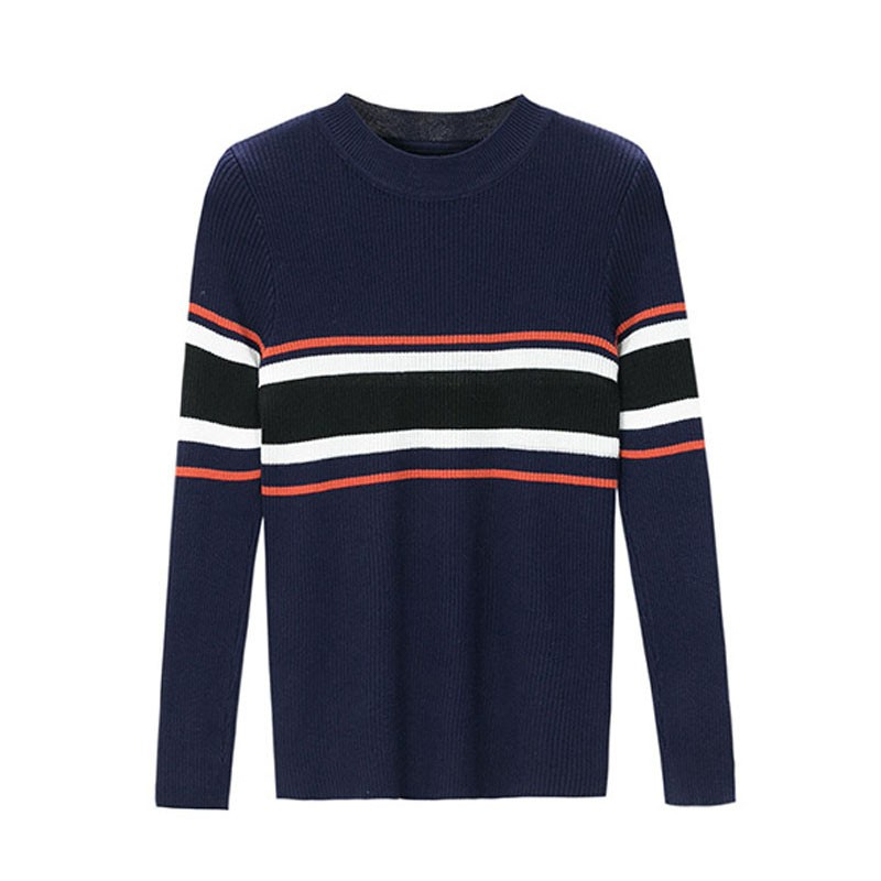 2019 Women Loose Sweater Round Neck Pullover Long Sleeve Casual Multi-color Stripes Print Stitching Slim Tops pull femme*