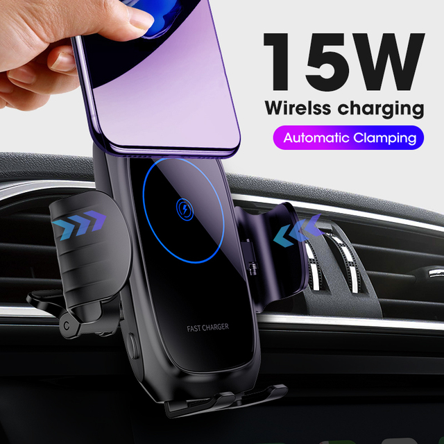 15W Car Qi Wireless Charger For iPhone induction usb mount Automatic Clamping Fast Wirless Charging For iphone 11 Samsung SIKAI 1