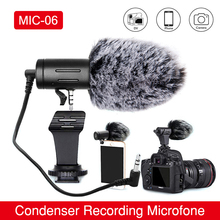 Phone Microphone Mini Portable 3.5mm Condenser Phone Video Camera Interview Microphone With Muff For Canon Sony Nikon DSLR Vlog