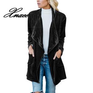 Image 4 - Xnxee ארוך שרוול רטרו קטיפה בלייזר מעיל אישה עטוף לפתוח חזית גבירותיי אלגנטי ארוך סגנון טרייל אביב Auutumn