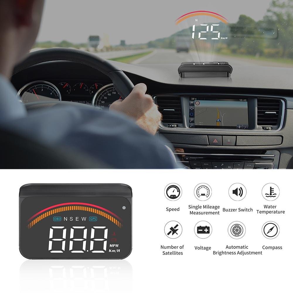 cheapest Car OBD2 Head Up Display M11 GPS HUD Digital Speedometer Overspeed Voltage Windshield Speed Projector Security Alarm Temp PK M7