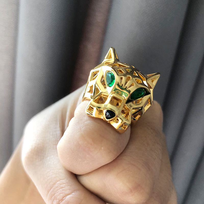 Image 5 - Top Quality Hollow Green Eye Leopard Ring Gold Color Micro Mosaic Crystal Stone Bohemia Bossy Ring For Men Women Luxury Jewelry-in Rings from Jewelry & Accessories