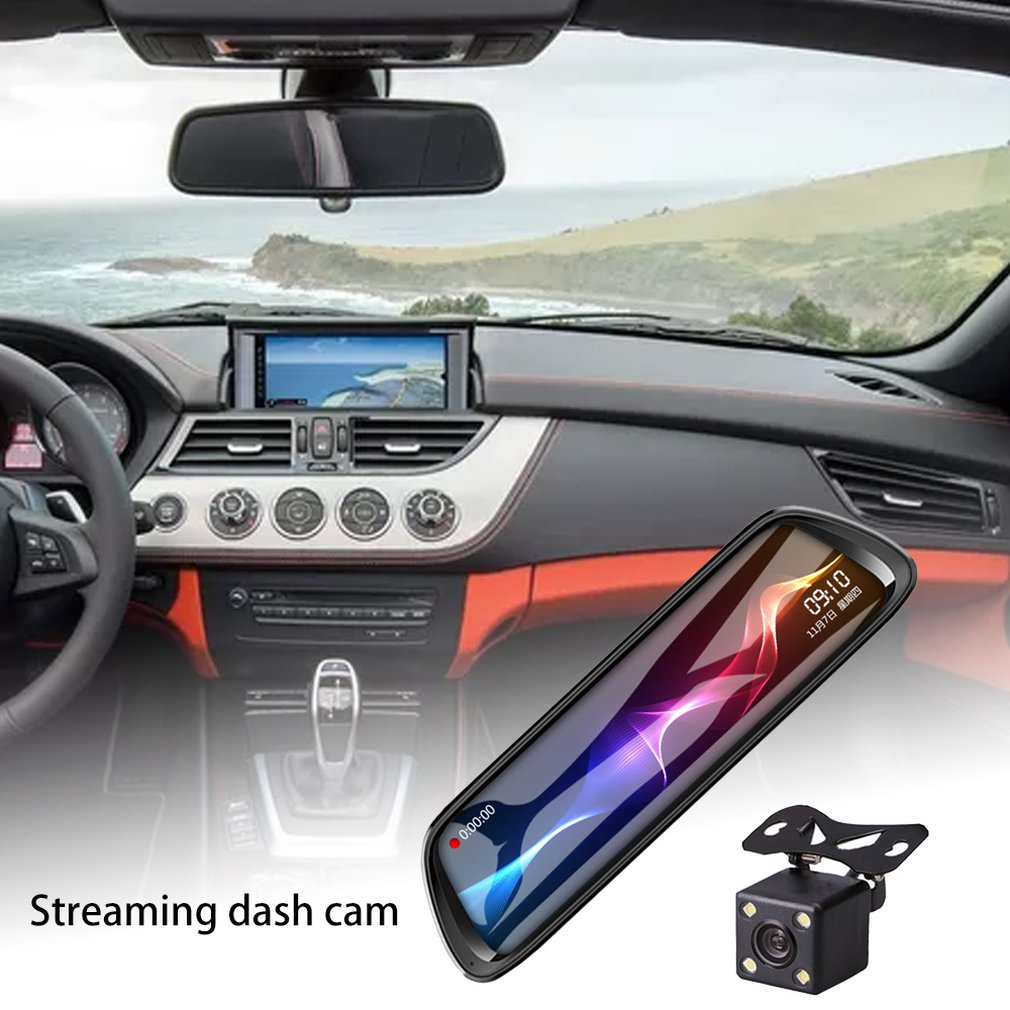Streaming Driving Recorder 10-Inch Rearview Mirror 1080P Dual Lens Reversing Image Starlight Night Vision