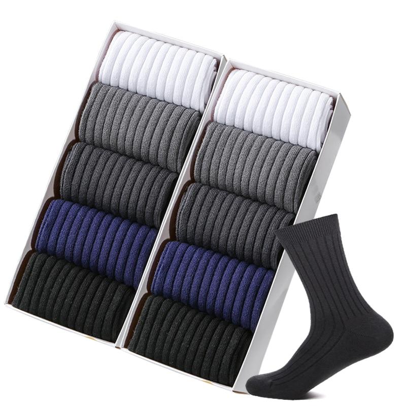 ZTOET Brand New Men's Socks Cotton Man Black White Business Casual Breathable Stripes Double Needle Male Long Socks High Quality