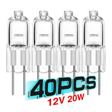 40 pçs/lote venda ultra g4 12 v 20 w lâmpada halógena g4 12 v lâmpada inserida grânulos de cristal lâmpada halogéneo 20 w 12 v baixo preço
