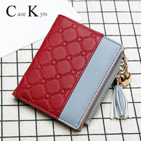 New ladies short wallet female zipper wallet fashion fresh Korean version of the large capacity tassel love stitching handbags