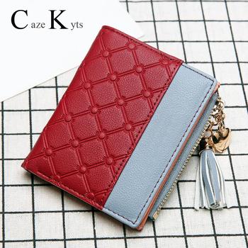 Nowy portfel damski portfel damski na zamek błyskawiczny moda świeży koreański wersja torebki o dużej pojemności tassel love szwy tanie i dobre opinie CAZEKYTS Prawdziwej skóry Skóra bydlęca Krótki 0 1kg 1 5cm Genuine Leather GEOMETRIC Lady DQB-N-01 Kieszonka na monety