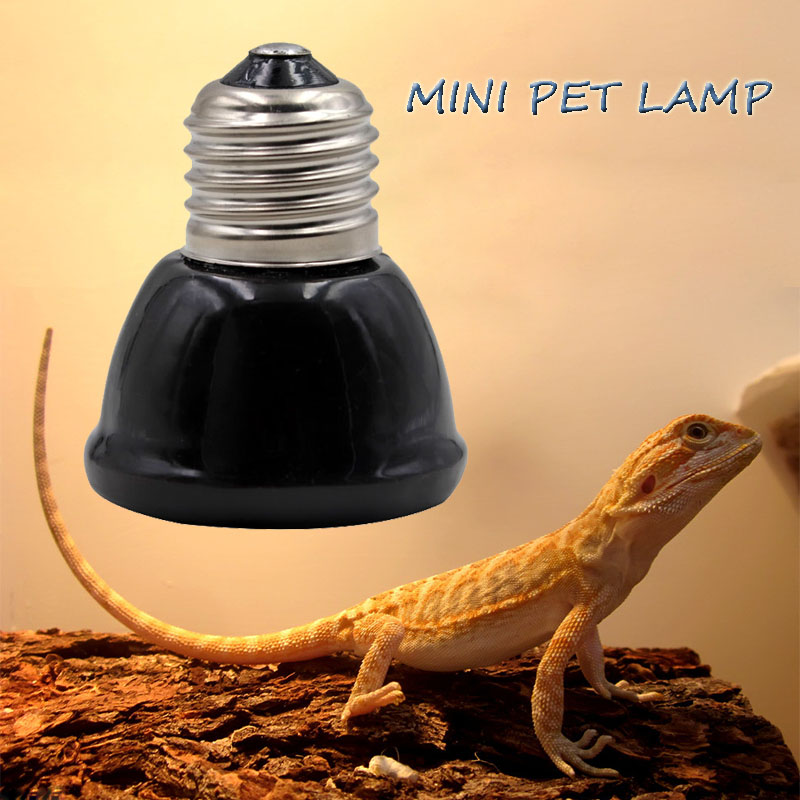 Mini Black Pet Heating Lamp Infrared Ceramic Emitter Heat Light Bulb Pet Brooder Chickens Reptile Lamp 25/50/ 75/100W