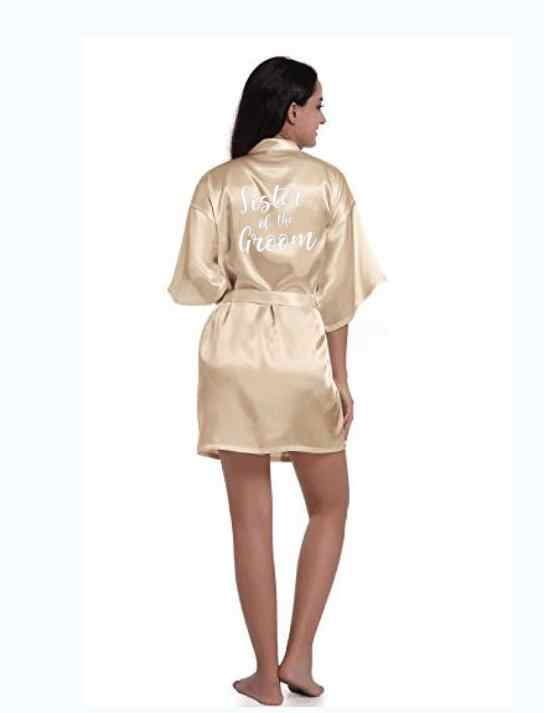ซาตินผ้าไหม Robes PLUS ขนาดงานแต่งงานเสื้อคลุมอาบน้ำเจ้าสาวเพื่อนเจ้าสาวชุดเสื้อผ้าผู้หญิงชุดนอนแม่บ้านของ Honor Rose Gold