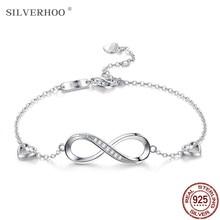 SILVERHOO bracciale in argento Sterling 925 Infinite Love bracciale regolabile per amicizia da donna bracciale creativo in zircone