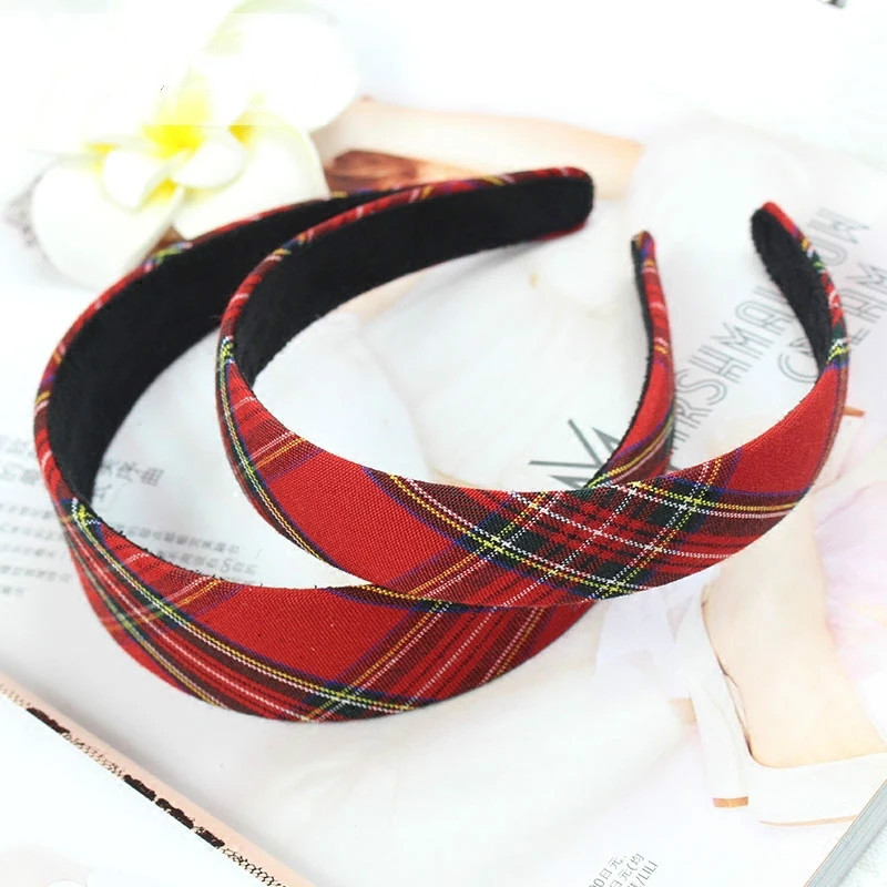 2.5CM Vintage New Plaid Bezel Headwear Women Headband Girls Vintage Bow Hair Bands Wide Hairband Hoop For Hair Accessories LL6